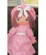 "Sweetie Mine large 48"" brown-ish yarn hair plush rag doll pink w/ colore... - $35.63"