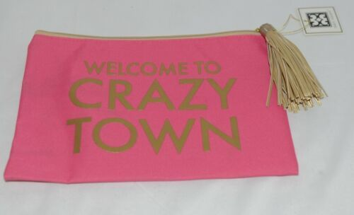 Mary Square 7961 Pink Gold Zipper Tassel Crazy Town Pouch