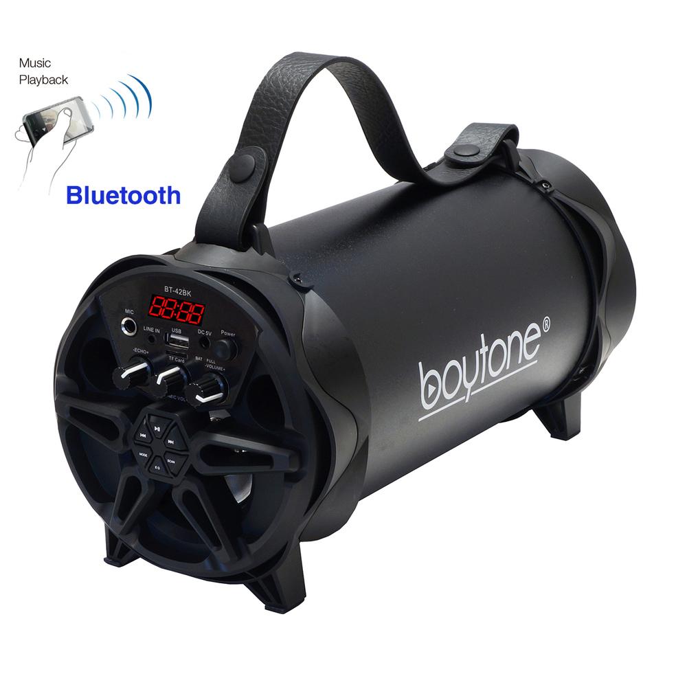 Boytone BT-42BK Portable Bluetooth Indoor/Outdoor 2.1 Hi-Fi Cylinder Loud Speake