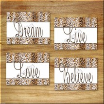 Leopard Cheetah Wall Art PRINTS Dream Live Love Believe Safari Animal Home Decor - $13.99