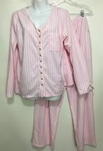 Eileen West Womens L Pink White Striped Fleece Flannel Pajamas Top Pants - $67.13