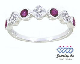 Ruby Round Gemstone 14K White Gold 0.38CT Natural Diamond Designer Band ... - $1,174.00