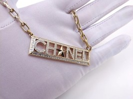 NEW Authentic Chanel Crystal Star CC Logo Long Gold Chain Necklace image 2