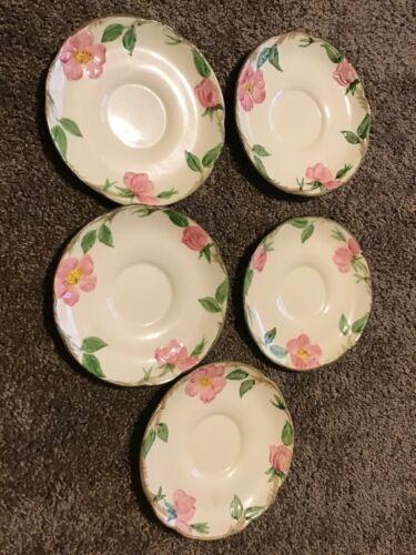 "5 Vintage Franciscan Desert Rose Saucers USA Set Small Plates 5 3/4"""