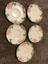 "5 Vintage Franciscan Desert Rose Saucers USA Set Small Plates 5 3/4"" - $24.74"