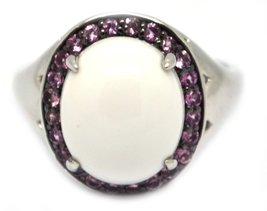 925 Silver Cabochon White Agate with Pink Topaz Ring image 1