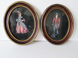 Victorian Period Style Needlepoint Art Man Woman OrigInal Frames Set of ... - £61.68 GBP