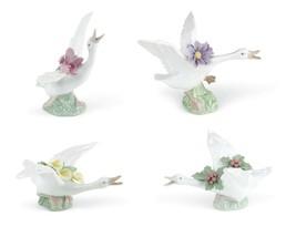 Lladro Set Ducks w/pink orchid, w/yellow lillies, w/purple dahlias, w/mi... - $741.85