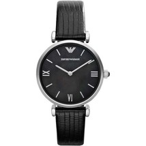 Emporio Armani AR1678 Classic Black Dial Leather Womens Watch - $167.07 CAD
