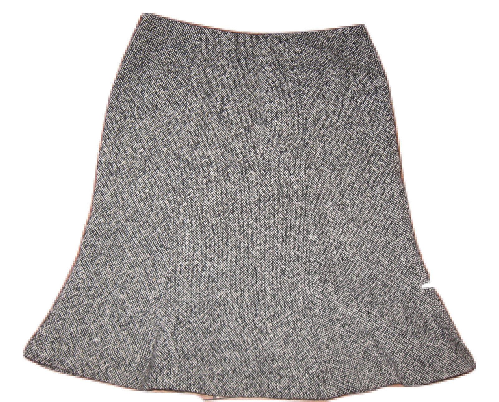 14063c277 GAP Sz 1 Skirt Black White TWEED A-Line Flare WOOL Blend Career Work Lined  - $17.99