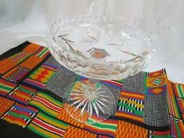 Vintage Crystal Compote Pedestal Candy Dish Etched Star of David Design ... - $33.24