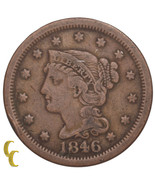 1846 Braided Hair Large Cent 1C Penny (Fine, F Condition) - $39.03 CAD