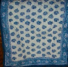 Pottery Barn 1 Standard Quilted Pillow Sham Blue & White Paisley Floral EUC - $22.74