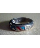 Estate - Vintage Sterling Silver Ladies Turquoise Coral Ring Size 7.5 - $49.95
