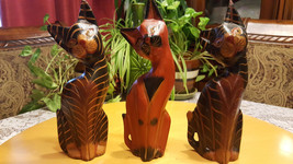 Vintage Wood Cats Hand Carved & Painted Lot of 3 Folk Art Stripped Cats ... - $24.70