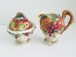 Fitz and Floyd Harvest Heritage Sugar Bowl & Creamer Grapes Apples NO SPOON  - $49.49