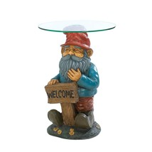 Accent Table Living Room, Garden Gnome End Tables Glass Top - Cold Cast ... - $126.99