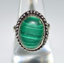 VTG .925 Sterling Silver Green Malachite Cabochon Ring Size 6.25 (B) - $49.50