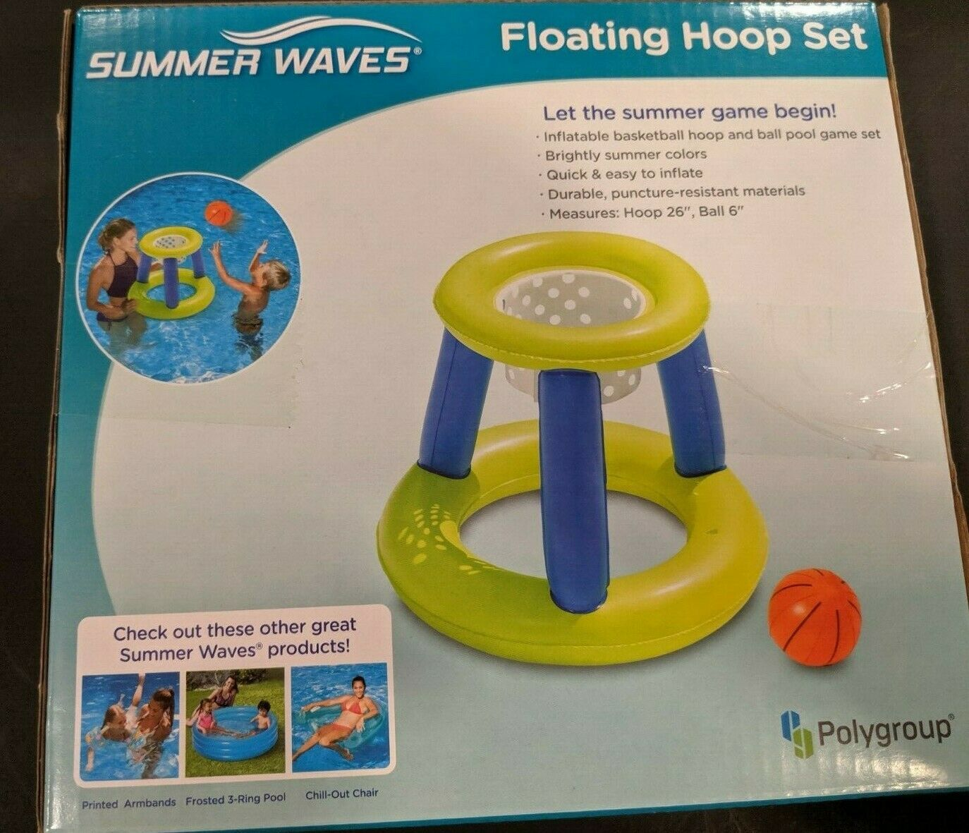 Summer Waves Floating Hoop Game Center Basketball Hoop And Ball Ages 6 and Up