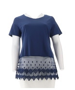 Kathleen Kirkwood Short Slv Top Lace Extender Navy 1X NEW A307345 - $27.70