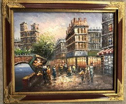 "Bankrupt Art Gallery Sale Oil Painting on Canvas of ""Paris Scene"" - $30.00"