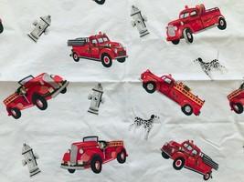 Pottery Barn Kids Fire Truck Dalmatian 3 pc Sheet Set Queen Flat & 2 Pillow Case - $57.09