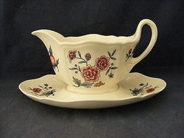 Wedgwood Williamsburg Potpourri Gravy Boat Attached Underplate  - $49.95