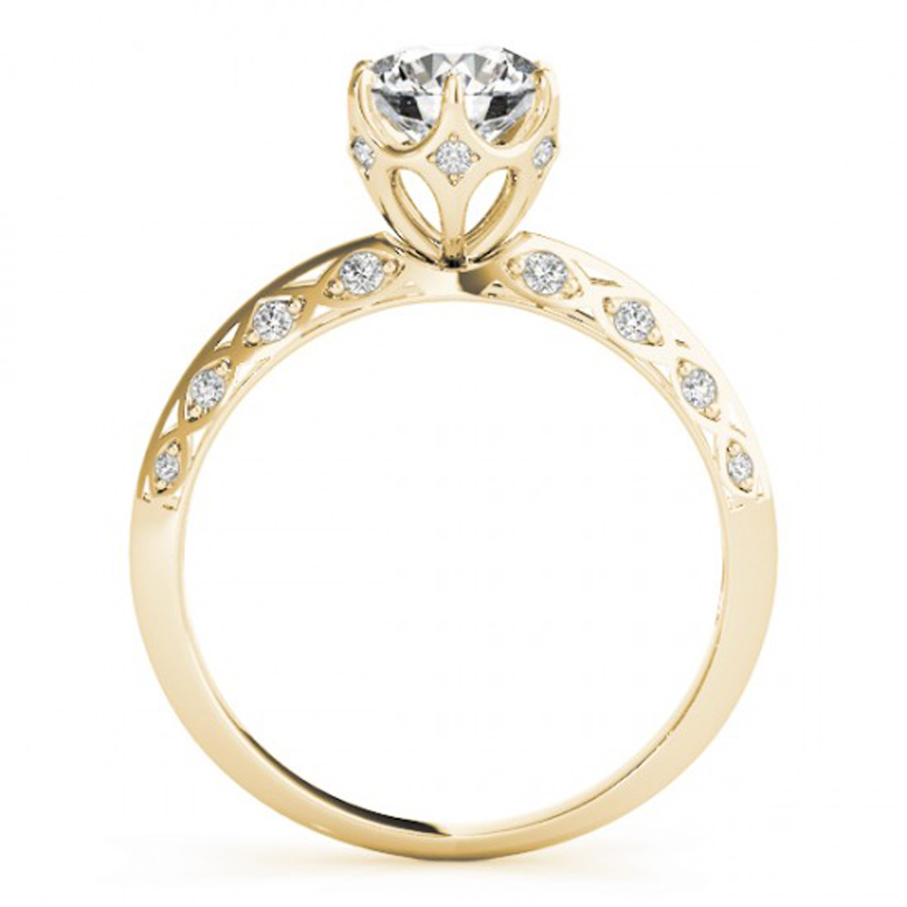Women's Engagement Wedding Ring Round Cut White CZ Yellow Gold Plated 925 Silver