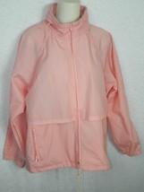 Vintage Eddie Bauer  Jacket Pink Nylon Windbreaker Foldable Hood  Size M... - $35.38