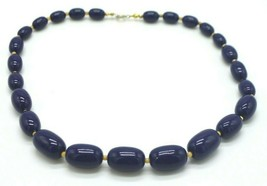 Navy Blue Acrylic Oval Bead Beaded Gold Tone Choker Necklace Vintage - $13.86