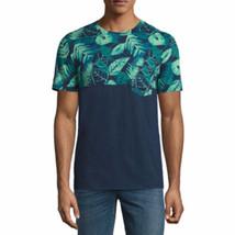 Arizona Men's Short Sleeve Crew Neck T-Shirt Navy Palm Print Size X-Larg... - $14.84