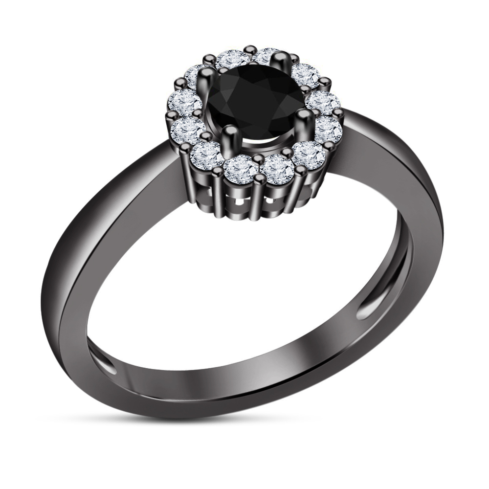 Primary image for Solitaire With Accents Ring 925 Sterling Silver 14k Black Gold FN Round White CZ