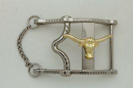 Herren Freizeit Western Cowboy Gürtelschnalle Silber Metall Lang Horn Kuh Gold image 5