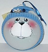 Polar Bear Christmas Ornament Glass Ball Blue Knit Hat NIB Chatley Creat... - $17.82