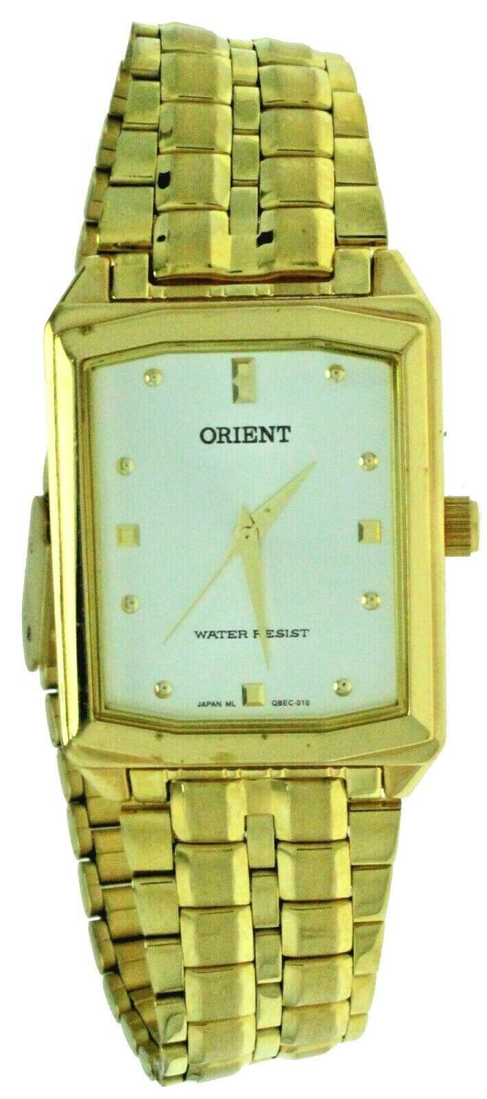 Primary image for New Old Style ORIENT Quartz S Steel Gold Tone Band, Case White Dial Watch WR