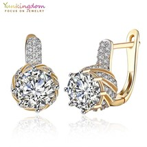 yunkingdom round crystal earrings gold color woman hoop earings vintage ... - $10.22