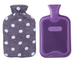 HomeTop Premium Classic Rubber Hot or Cold Water Bottle with Soft Fleece Cover 2