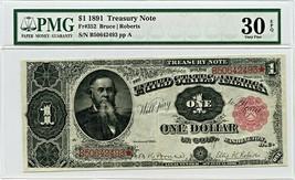 FR. 352 1891 $1 Treasury Note PMG Very Fine 30 EPQ - Treasury Notes - $509.25