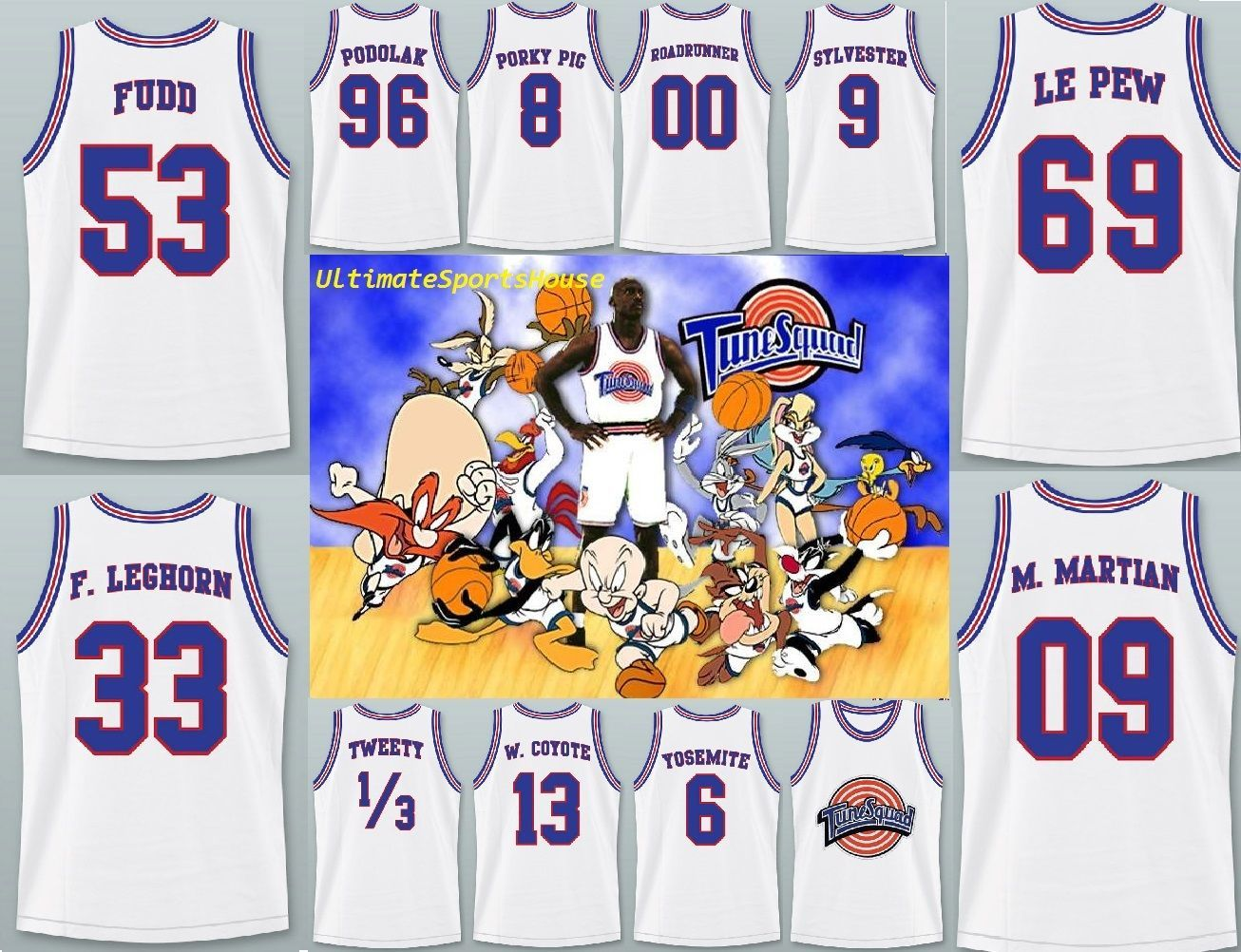 3a3cc863dbb S l1600. S l1600. Previous. Space Jam Basketball Jersey Tune Squad Retro  Stitched Top Embroidered White Rare