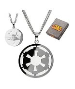 Star Wars Imperial Symbol and Death Star Etched Necklace [Jewelry] [Jan ... - $29.36