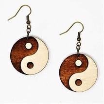 Yin-Yang Dangle Earrings   Wood Hand-Made Eco-Friendly Fashion by Telestic Desig