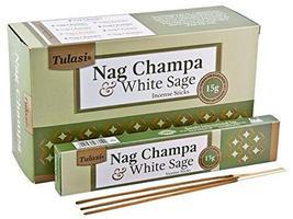 Tulasi Nag Champa & White Sage Natural Incense - 15 Sticks Pack - Set of... - £9.22 GBP