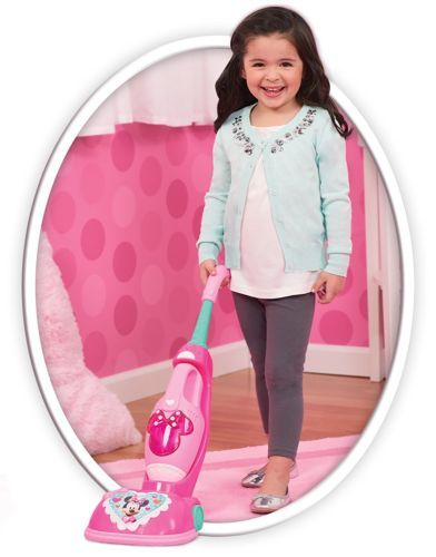 Minnie Mouse Vacuum Cleaner Toy With Sounds Lights For Kids Pretend Play Pink, used for sale  USA