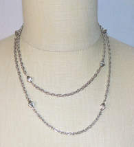ACO Later Swank Sterling Silver Chain Beaded Necklace Vintage 20 grams - $39.59