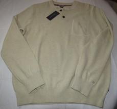 Mens Tommy Hilfiger long sleeve sweater shirt XL 78B6524 931 beige ivory  - $89.09