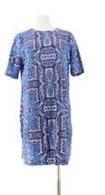 Isaac Mizrahi Choice Print Elbow Slv T-Shirt Dress Blue Tile L NEW A307531 - $34.63