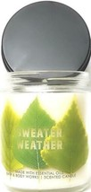 Bath and Body Works Sweater Weather Medium Jar Candle 7 oz. 1 Wick Leaf ... - $17.86