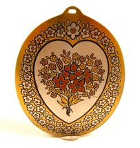 Vintage Read & Barton Damascene Flower Bouquet Large Oval Necklace Penda... - $22.72