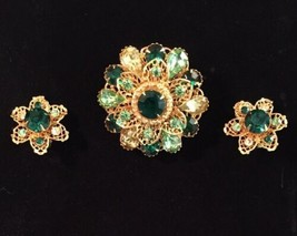 Rhinestone Brooch & Earrings VTG Delicate Gold-Tone Green / Yellow (1725) - $22.80