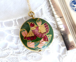 Green Cloisonne Enamel Necklace Bird Pendant Double Sided With Gold Fill... - $38.00